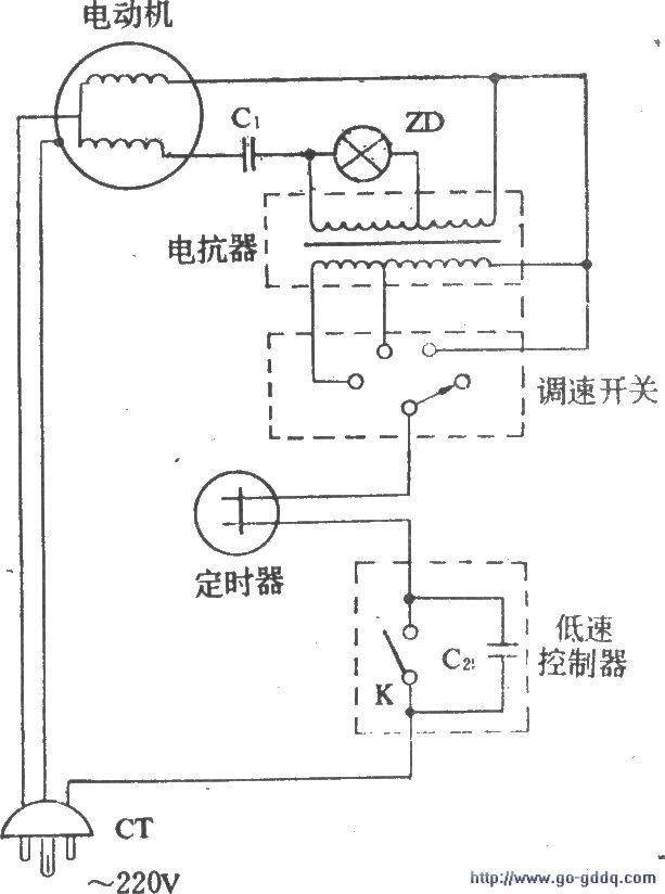 电风扇改为低速控制电路图