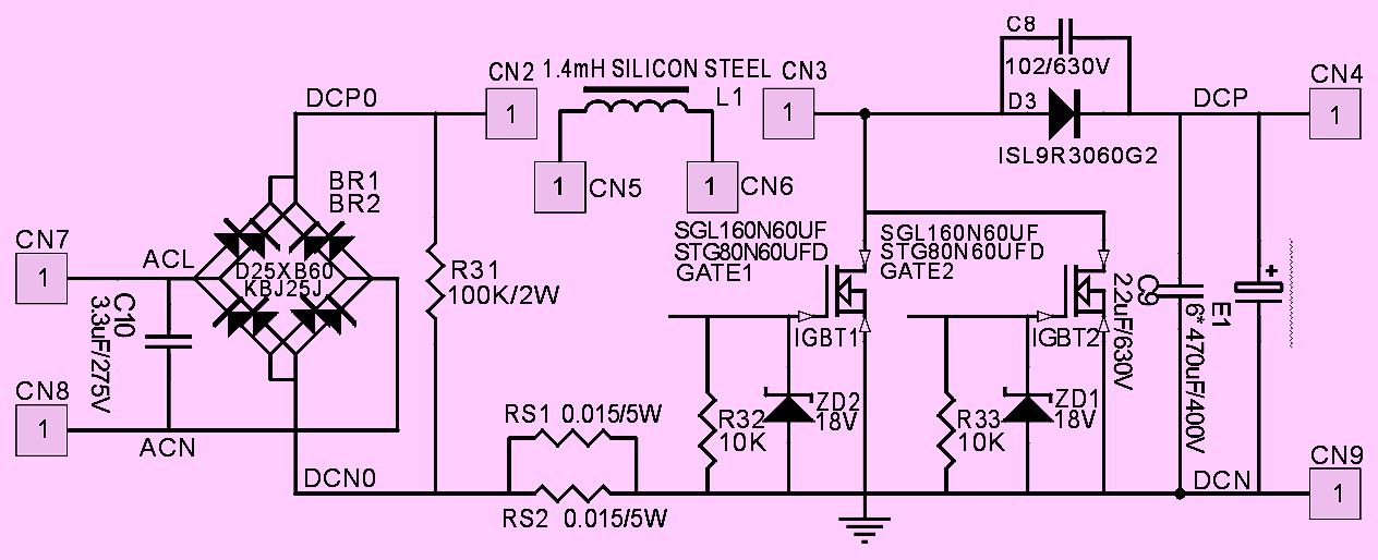 图15 大功率单相有源pfc功率电路