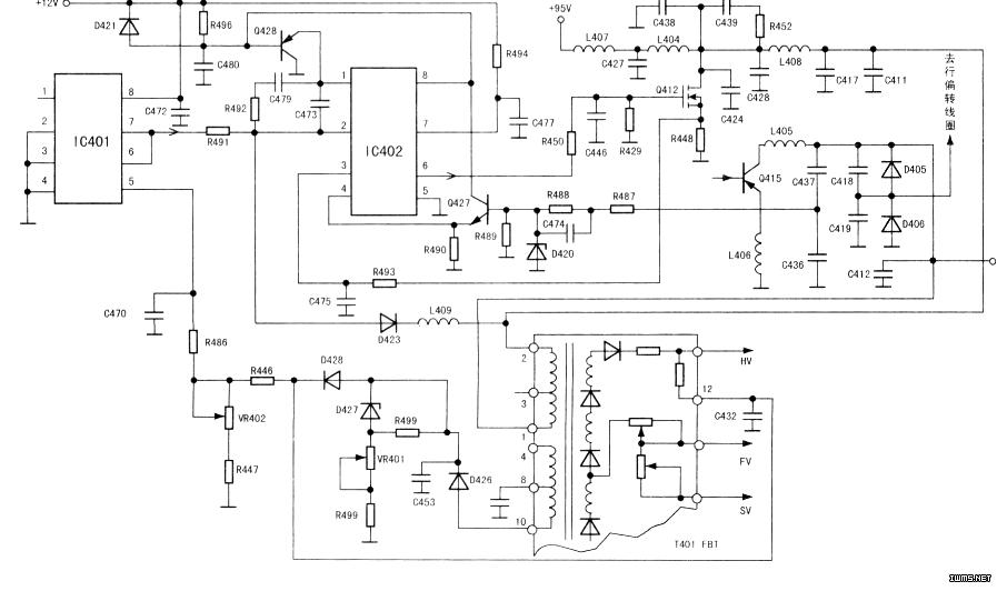 测+95v电压无波动现象,但测q415集电极+b电压时画面亮度变化有波动
