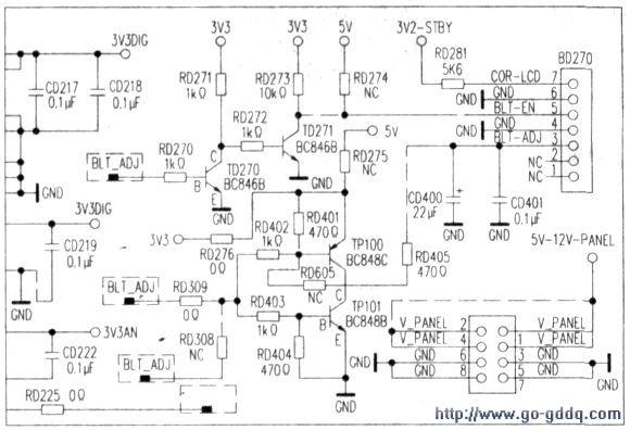 测试控制电路,发现rd274开路.造成没有高电平信号送到主背光板.