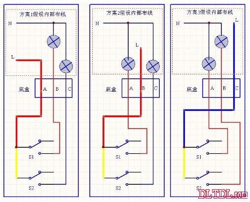 双联开关接线图【实战问题】  家用卫生间有个开关,是2个按纽的,一个