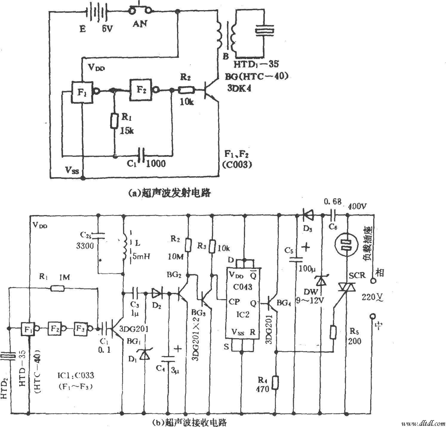 电风扇超声波遥控开关-电路图