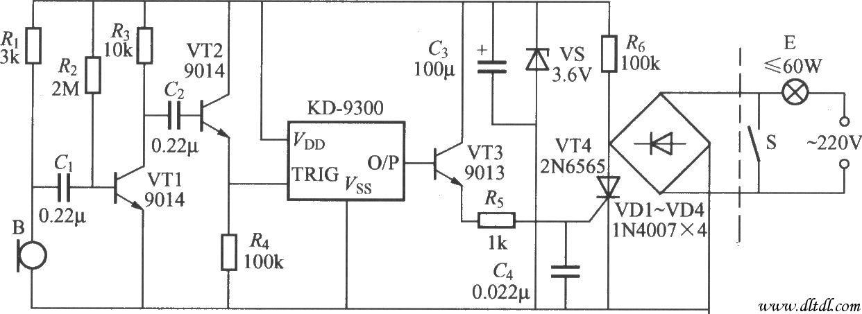 如图所示是一个采用音乐门铃芯片为核心器件制作的声控延迟灯,使用时