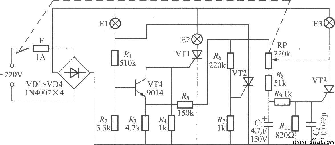 晶闸管三色调光灯电路