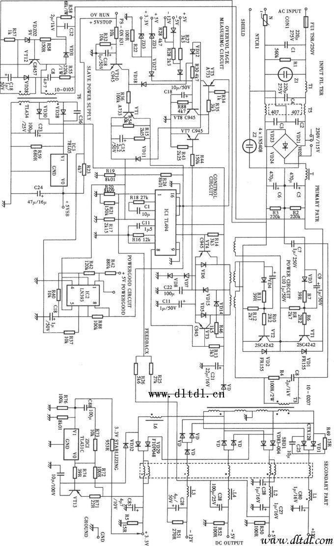 200WATX电源 TL494 电路图片