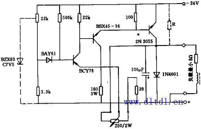 24v/3a晶体管调压器-电路图