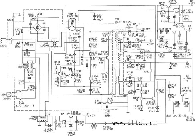 长虹r2118a型彩电开关电源(la单片机)电路