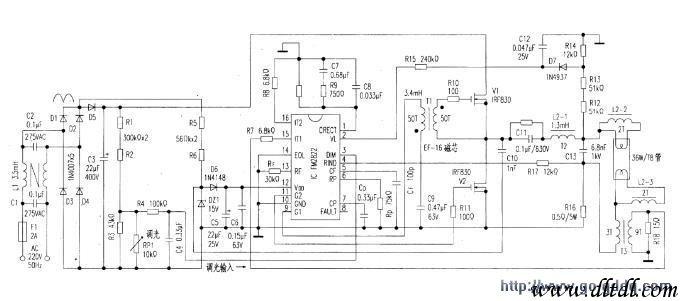 用fm2822构成的36w荧光灯电子镇流器