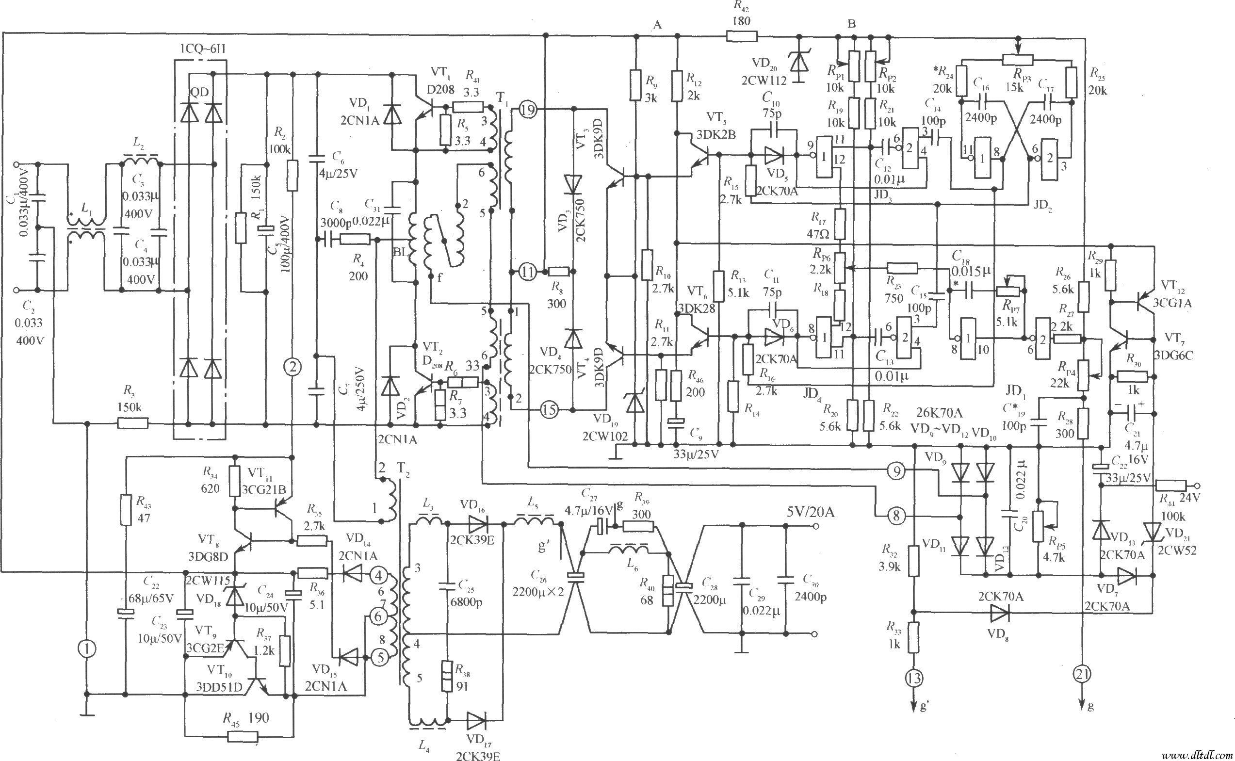 半桥式开关稳压电源实用电路