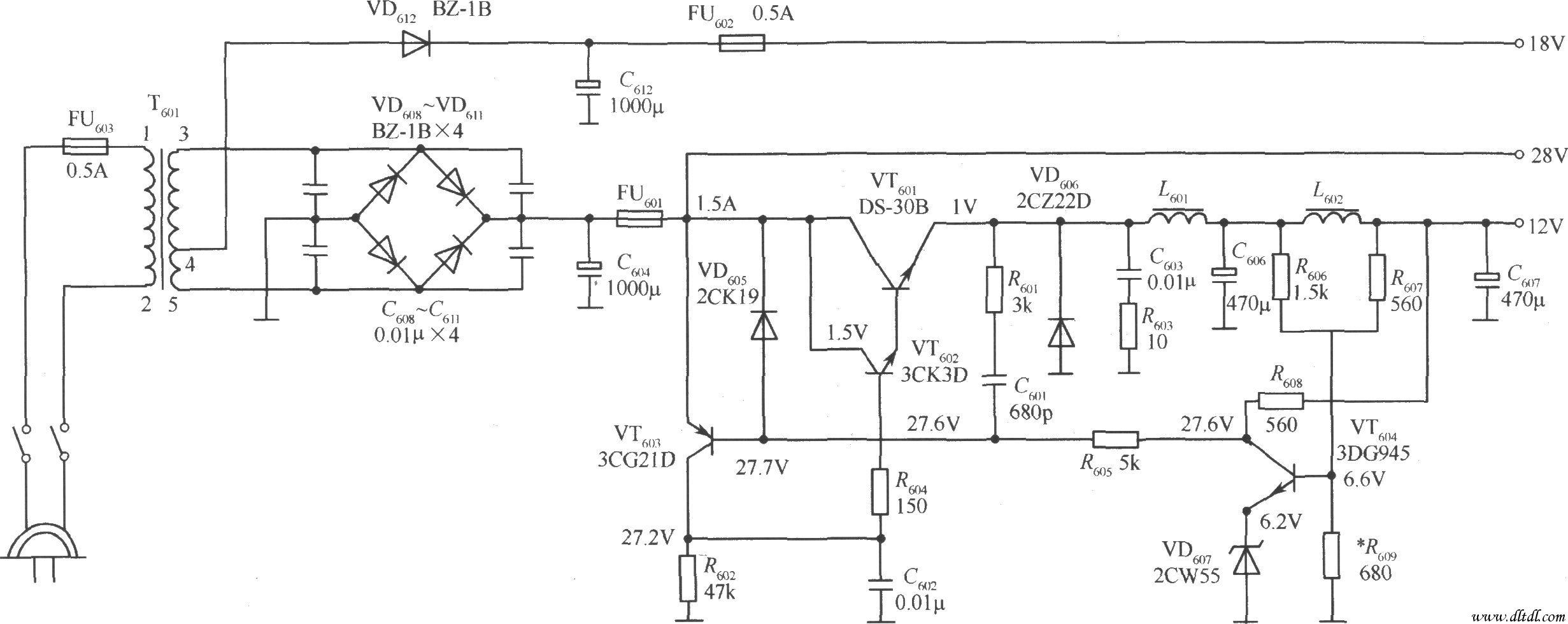 低压开关稳压电源-电路图
