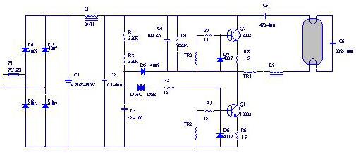 能灯电子镇流器电路图