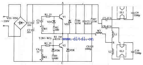 荧光灯电子镇流器电路图