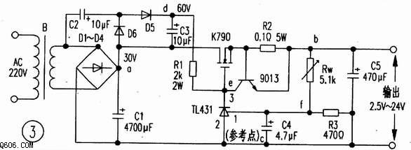 技术资料 电路图 电源电路 利用tl431作大功率可调稳压电源  意法