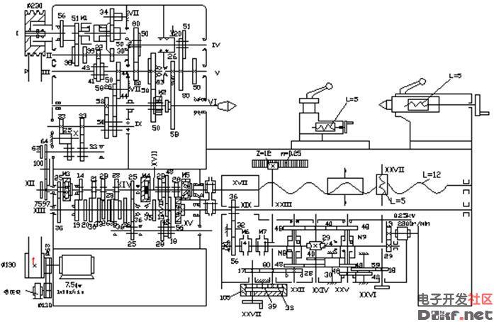 ca6140型卧式车床的传动系统原理框图